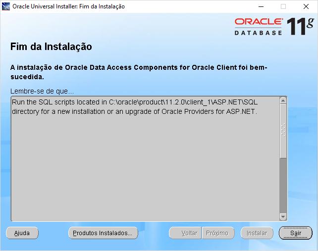 OUI - ORACLE UNIVERSAL INSTALLER - como fazer a instalação do client oracle 11 com sucesso no windows 10